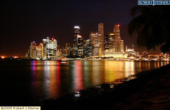 Singapore Skyline - Night View from Marina Promenade